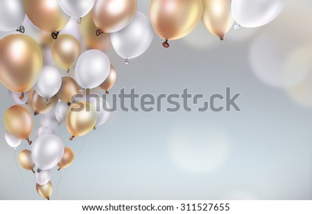 gold and white balloons on blurred light background - stock photo
