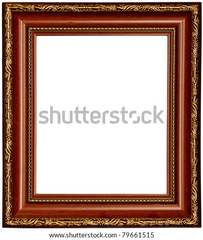 Gold and wood frame on white background - stock photo