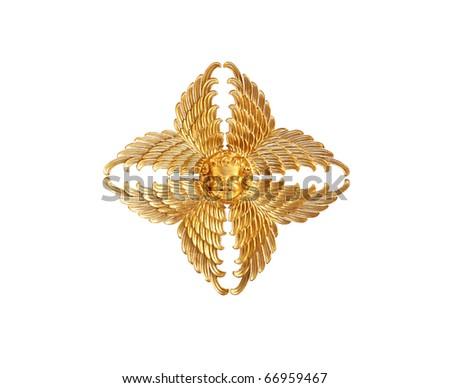 Gold angel isolated on white background - stock photo