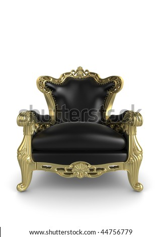 Gold antique armchair illustration. Isolated on a white background - stock photo