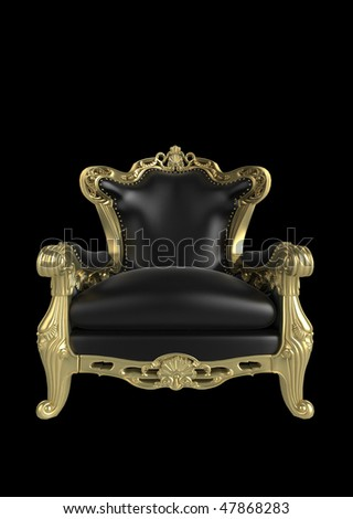 Gold antique armchair illustration. Isolated on a white background