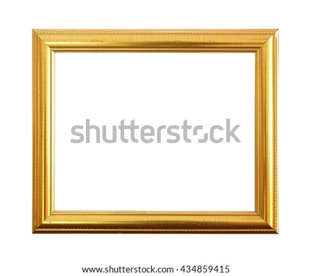 Gold antique frame isolated on black background