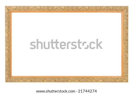 gold antique frame isolated on white - stock photo