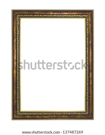 gold antique frame isolated on white background - stock photo