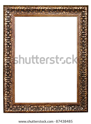 gold antique frame isolated on white background - stock photo