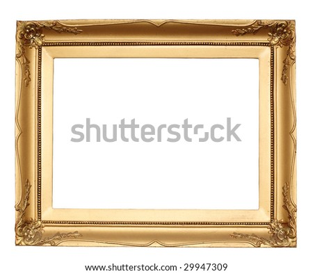 gold antique frame isolated on white background with clipping path - stock photo
