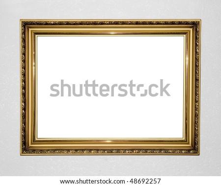 gold antique frame on decorative background - stock photo