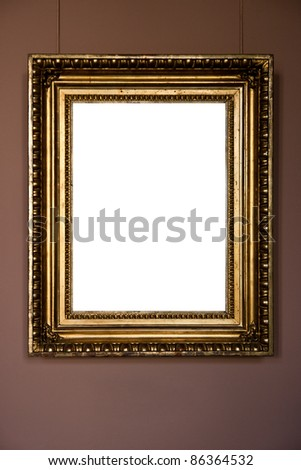gold antique frame on pink background - stock photo