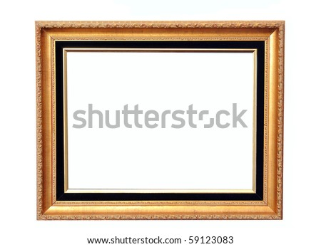 Gold antique frame  on white background - stock photo