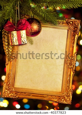 gold antique frame over abstract bokeh background - stock photo