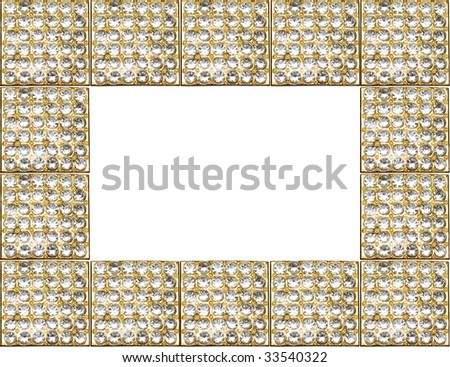 gold antique frame with diamonds isolated on white background - stock photo