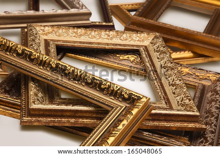 Gold antique frames, isolated on white background. - stock photo