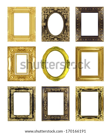 gold antique vintage  picture frames. Isolated on white background