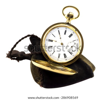 Gold antique watch isolated on white - stock photo