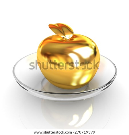 Gold apple on a plate - stock photo