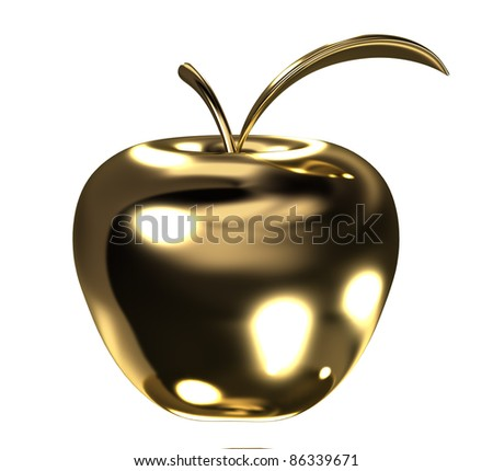 Gold apple with leaf - stock photo
