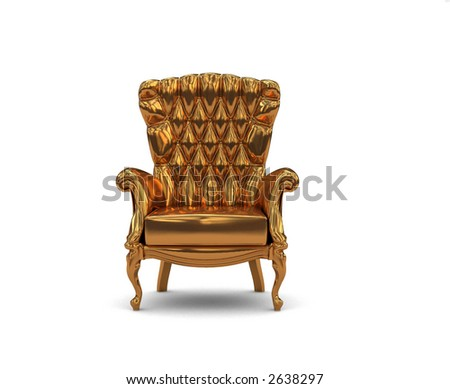 gold  armchair over the white background (3D)