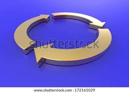 gold arrows recycle on blue background