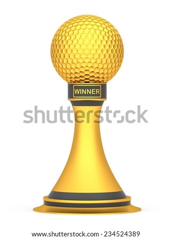 Gold award golf ball sport isolated on a white background - stock photo
