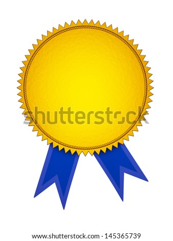 Gold Award Medal with Blue Ribbon - stock photo