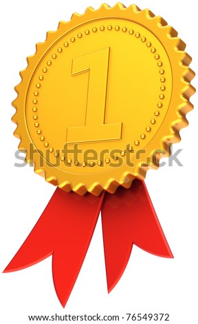 Gold award ribbon first place medal golden with red competition symbol. Number one prize trophy badge. Champion victory sport success icon concept. Detailed 3d render. Isolated on white background - stock photo