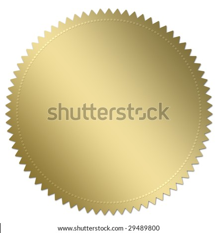 Gold award seal or medal illustration. Isolated on white with copy space. Part of a series of three - stock photo