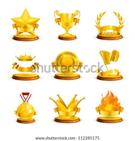 Gold awards, set bitmap copy - stock photo