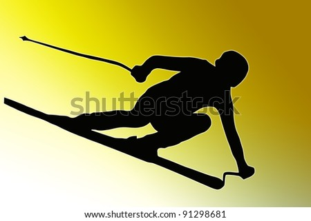 Gold back Sport Silhouette Skier speeding down slope