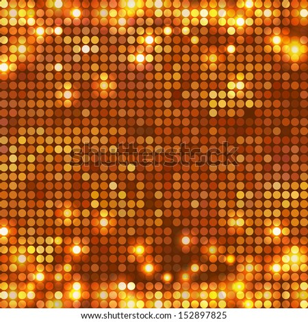 Gold background mosaic with light spots at top and bottom side - stock photo