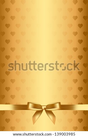 Gold background with hearts and bow - stock photo