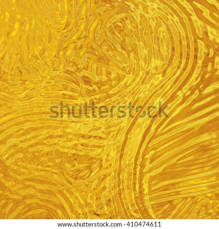gold background with rippled glass texture lines - stock photo