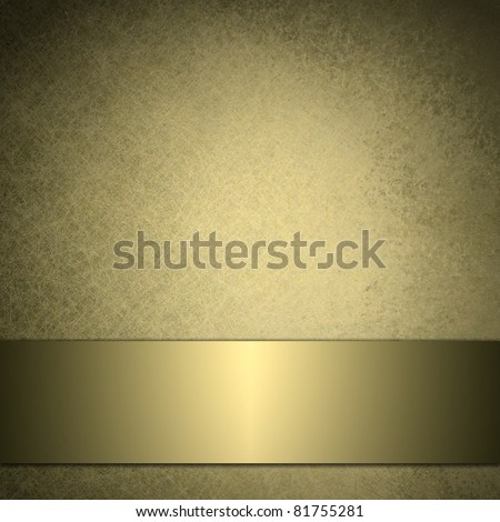 gold background with soft beige and warm brown colors, has metallic gold ribbon banner across bottom, and darkened burnt edges in black - stock photo
