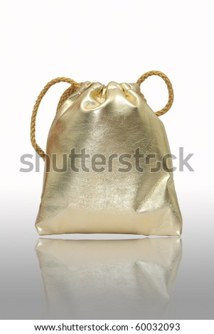 Gold bag in white background.,use for keep money or cosmetics - stock photo