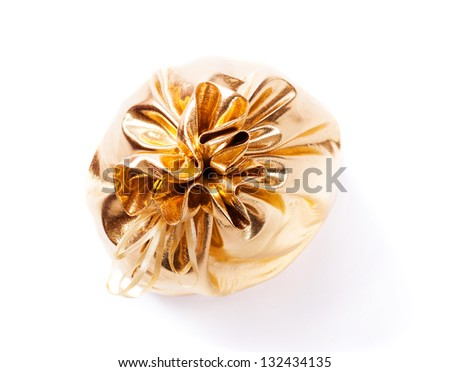 Gold bag isolated over white background - stock photo