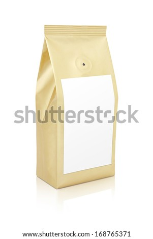 Gold bag of coffee on isolated white background - stock photo