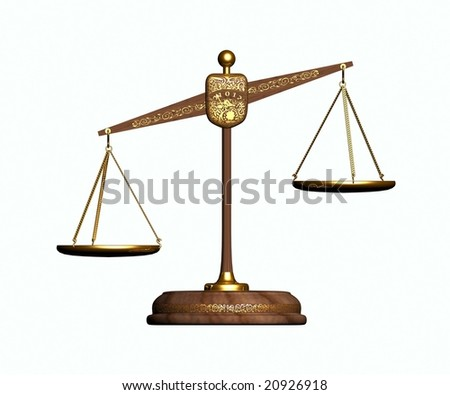 Gold balance. Front View - stock photo