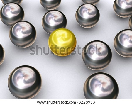 Gold ball stands out - stock photo