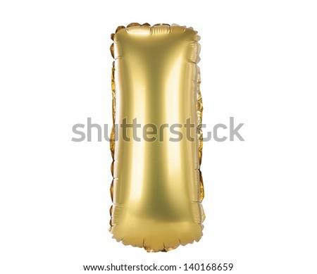 Gold balloon font part of full set upper case letters, I - stock photo