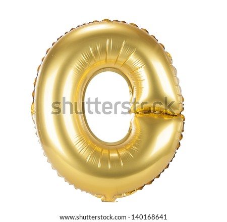Gold balloon font part of full set upper case letters, O - stock photo