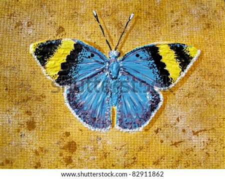 gold banded forester butterfly, acrylic on canvas - stock photo