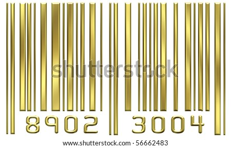 Gold bar code - stock photo