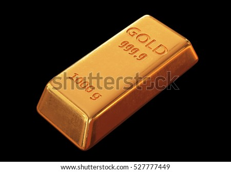 Gold bar. 3D Illustration