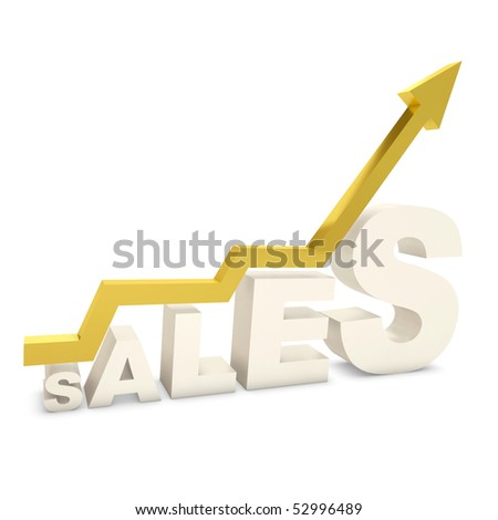 Gold bar graph showing the growth of sales