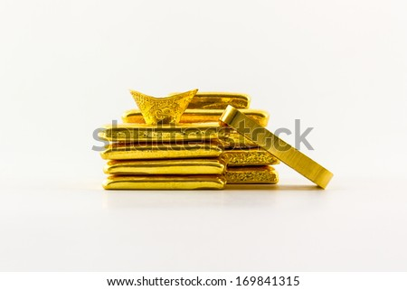 Gold bar isolated on the white background. - stock photo