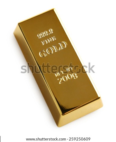 Gold bar isolated on white - stock photo