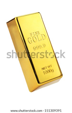 Gold bar isolated on white background - stock photo