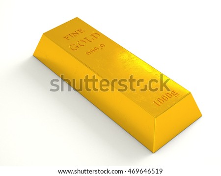 "Gold bar isolated on white background. Single brick precious metal with text - ""fine gold 999.9 1000g"" and scrapes and scratches. High resolution 3d illustration"