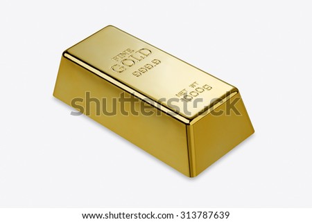 Gold bar isolated with clipping path?/?Photo of a 1kg gold bar isolated on a white background  - stock photo
