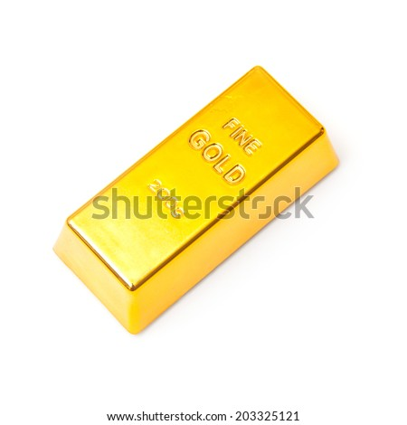 Gold bar or ingot isolated on a white studio background.