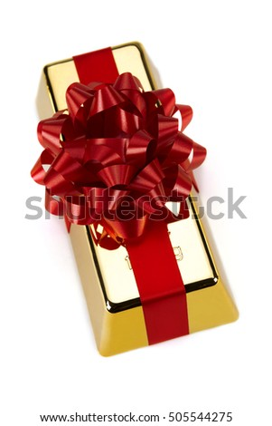 Gold Bar with Red Ribbon, studio shots
